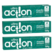 Kit com 3 Cremes Dentais Veganos Anticárie - Menta Amazon - Ultra Action