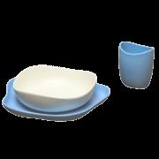 Prato, Tigela e Copo de bambu e casca de arroz - azul - Becothings