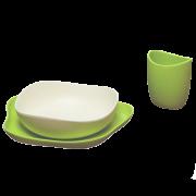 Prato, Tigela e Copo de bambu e casca de arroz - verde - Becothings