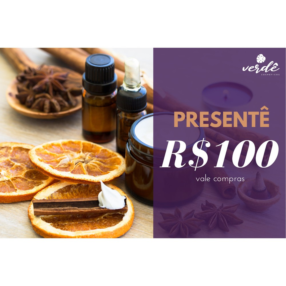 Cartão Presentê - R$100  - Verdê Cosméticos