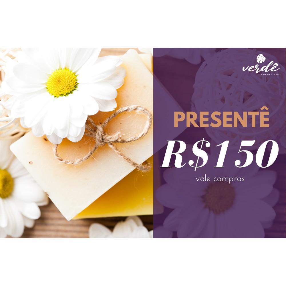 Cartão Presentê - R$150  - Verdê Cosméticos