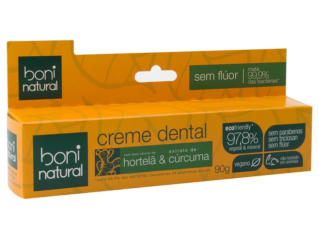 Creme Dental Vegano - Hortelã e Cúrcuma  - Boni Natural  - Loja da Verdê