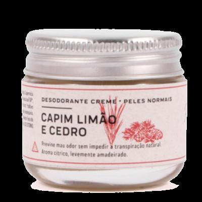 Desodorante Creme Natural Capim Limão e Cedro - peles normais - Prema  - Verdê Cosméticos