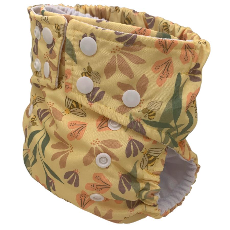 Fralda Ecológica Ajustável por Botões - Abelhinhas da Floresta - Bebês Ecológicos  - Loja da Verdê