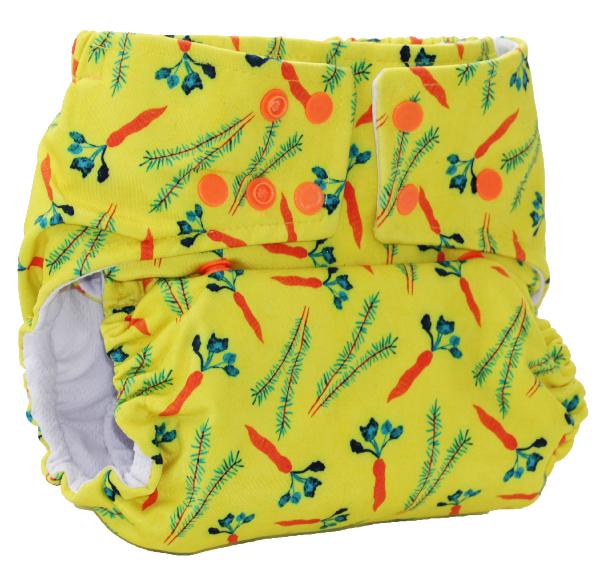 Fralda Ecológica Bela Gil Cenouras - Amarela com Forro Branco ou Preto - Bebês Ecológicos  - Loja da Verdê
