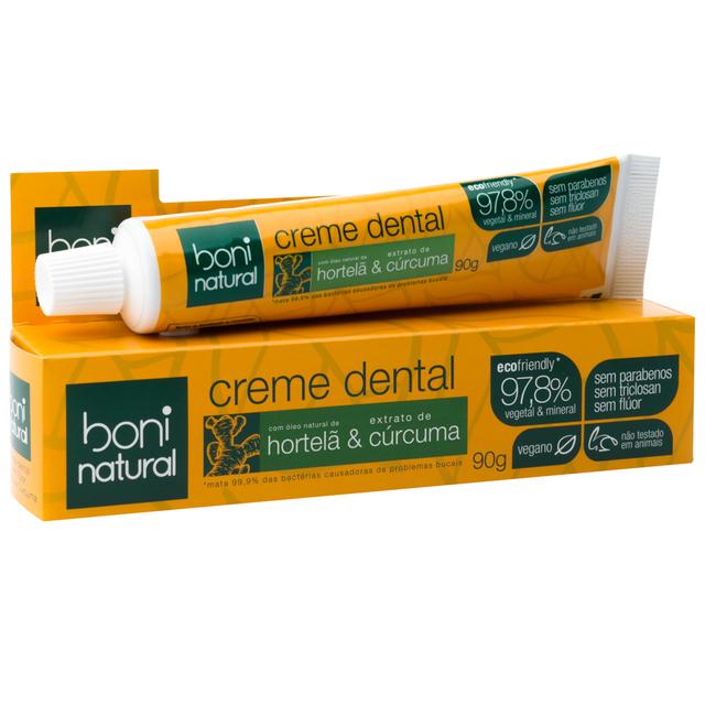 Kit 2 Cremes Dentais - Cúrcuma e Carvão Vegetal - Boni Natural  - Verdê Cosméticos