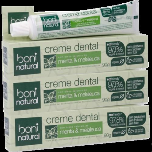 Kit 3 Cremes Dentais - Menta e Melaleuca - Boni Natural  - Verdê Cosméticos