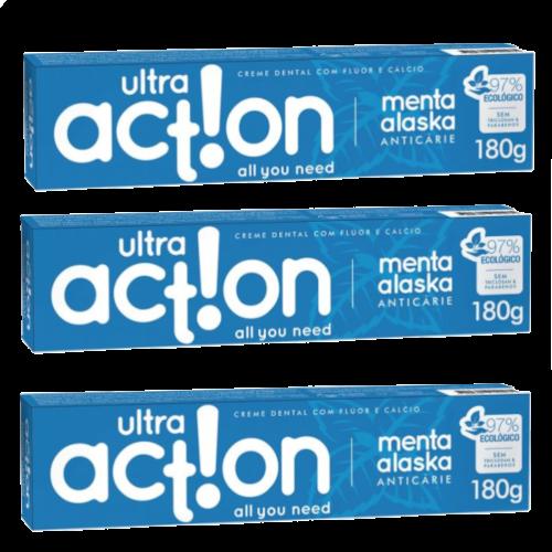 Kit com 3 Cremes Dentais Veganos Anticárie - Menta Alaska - Ultra Action  - Verdê Cosméticos