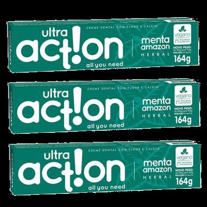 Kit com 3 Cremes Dentais Veganos Anticárie - Menta Amazon - Ultra Action  - Verdê Cosméticos