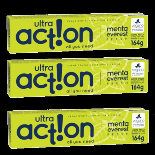 Kit com 3 Cremes Dentais Veganos Fresh - Menta Everest - Ultra Action  - Verdê Cosméticos