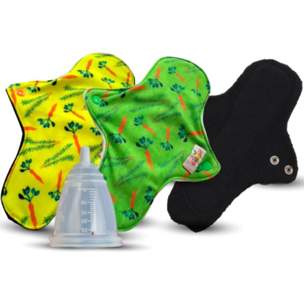 Kit com 3 ecoabsorventes Bela Gil e um coletor menstrual Ecoabs  - Verdê Cosméticos