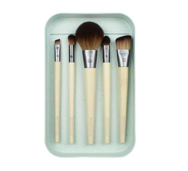 Kit com 5 Pincéis Veganos Básicos Para Maquiagem - Ecotools  - Verdê Cosméticos