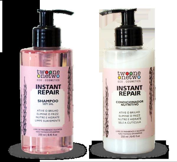 Kit Shampoo e Condicionador Vegano Instant Repair - cabelo normal a seco - Twoone Onetwo  - Loja da Verdê