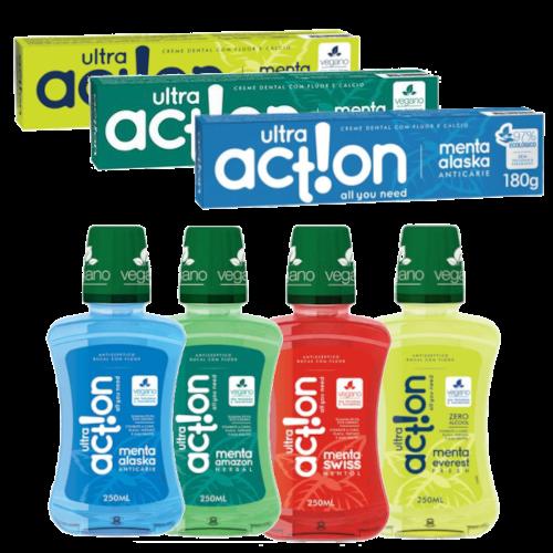 Monte o seu Kit Ultra Action com desconto - 3 pastas + 1 enxaguante  - Verdê Cosméticos