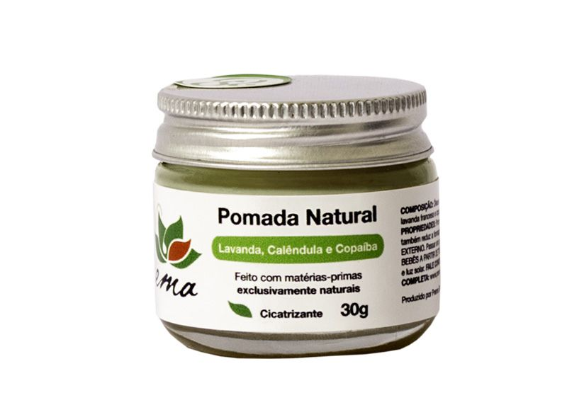 Pomada Natural Lavanda, Calêndula e Copaíba - Cicatrizante - Prema  - Loja da Verdê