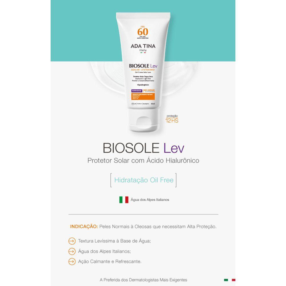 Protetor Solar e Anti Idade vegano Biosole Lev FPS60 - pele oleosa e com acne - Ada Tina  - Verdê Cosméticos