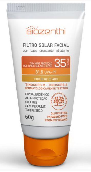 Protetor Solar Vegano com base tonalizante FPS 35 - Bege Claro - Biozenthi  - Verdê Cosméticos