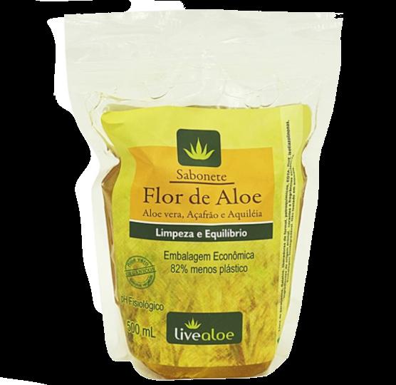 Refil Sabonete Líquido Flor de Aloe Vegano e Orgânico - pele oleosa - Livealoe  - Verdê Cosméticos