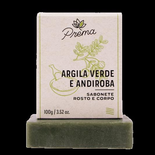 Sabonete Rosto e Corpo Argila Verde e Andiroba - peles mista ou oleosa - Prema  - Verdê Cosméticos