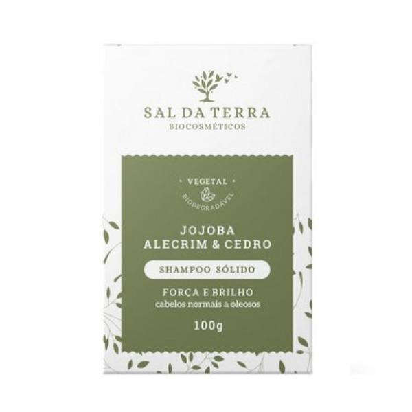 Shampoo Sólido Natural de Jojoba Alecrim e Cedro - Força e Brilho - Sal da Terra  - Verdê Cosméticos