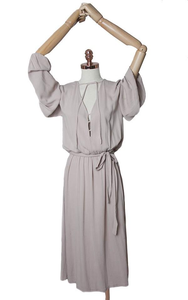 Vestido Três em crepe