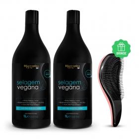 2x Selagem Vegana Marroquina 1L Tigo Cosméticos - Ganhe Escova Mágica Anti Frizz