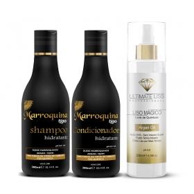 Kit Shampoo + Condicionador Hidratante Marroquina 300ml +  Liso Mágico Argan Oil  200ml - Tigo Cosméticos / Ultimate Liss