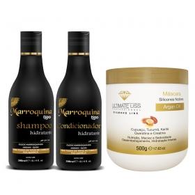 Kit Shampoo + Condicionador Hidratante Marroquina 300ml +  Máscara Argan Oil 500g - Tigo Cosméticos / Ultimate Liss