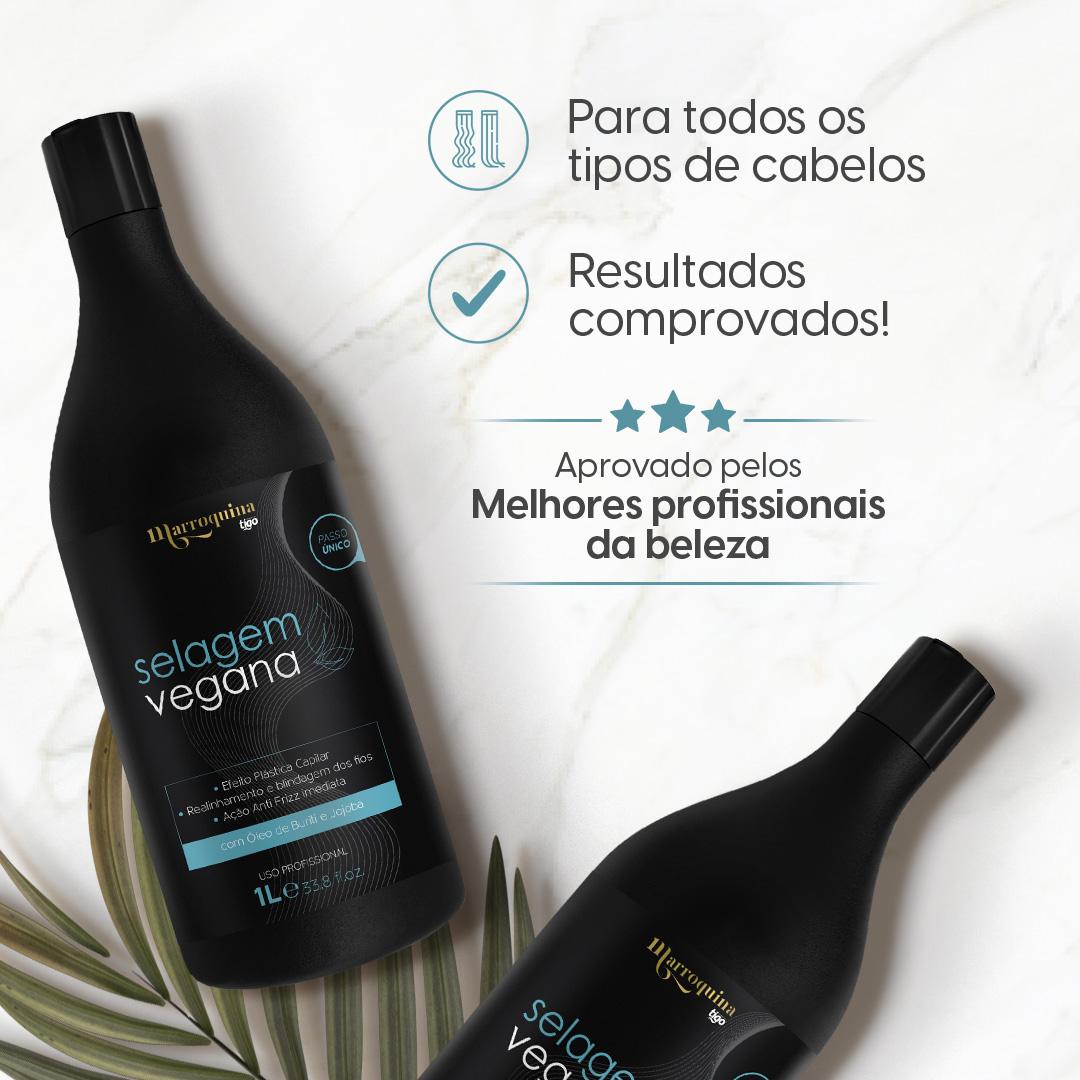 3x Selagem Vegana Marroquina 1L Tigo Cosméticos - Ganhe Spray de Argan 60ml