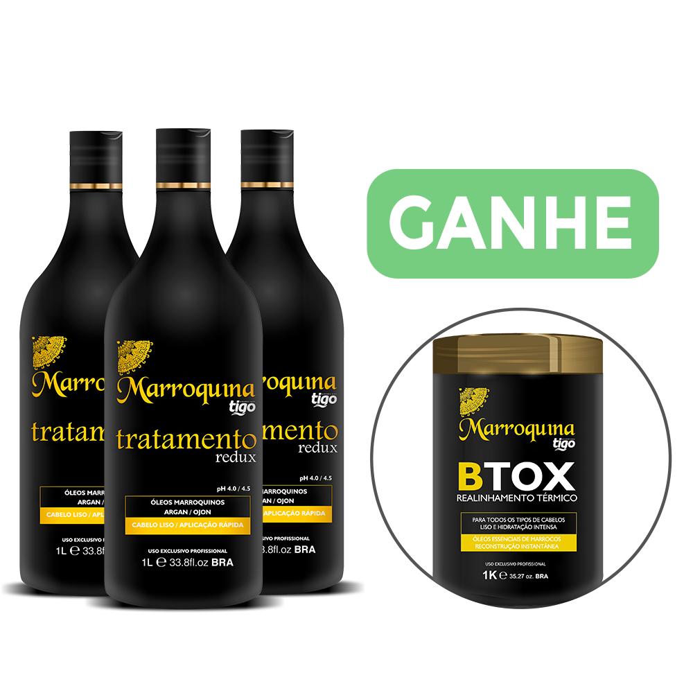 Combo com 3un Tratamento Redux Marroquina 1L | Ganhe 1 Btox 1Kg