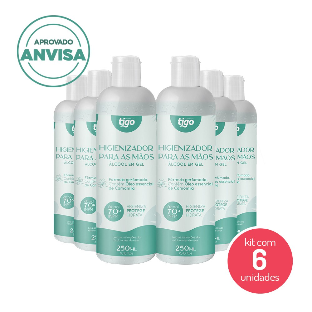 Kit com 06 un Higienizador Para As Mãos Camomila 250ml