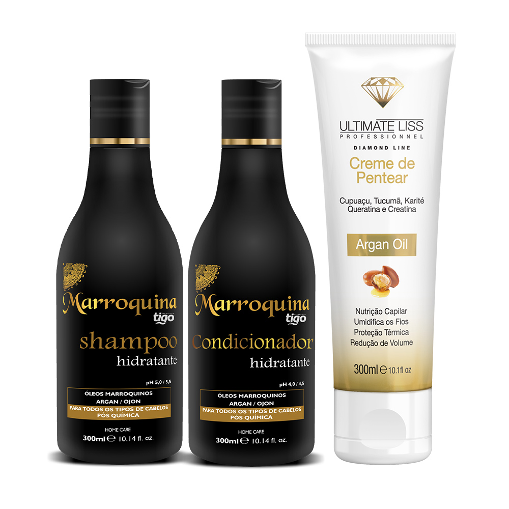 Kit Shampoo + Condicionador Hidratante Marroquina 300ml +  Creme de Pentear Argan Oil 300ml - Tigo Cosméticos / Ultimate Liss