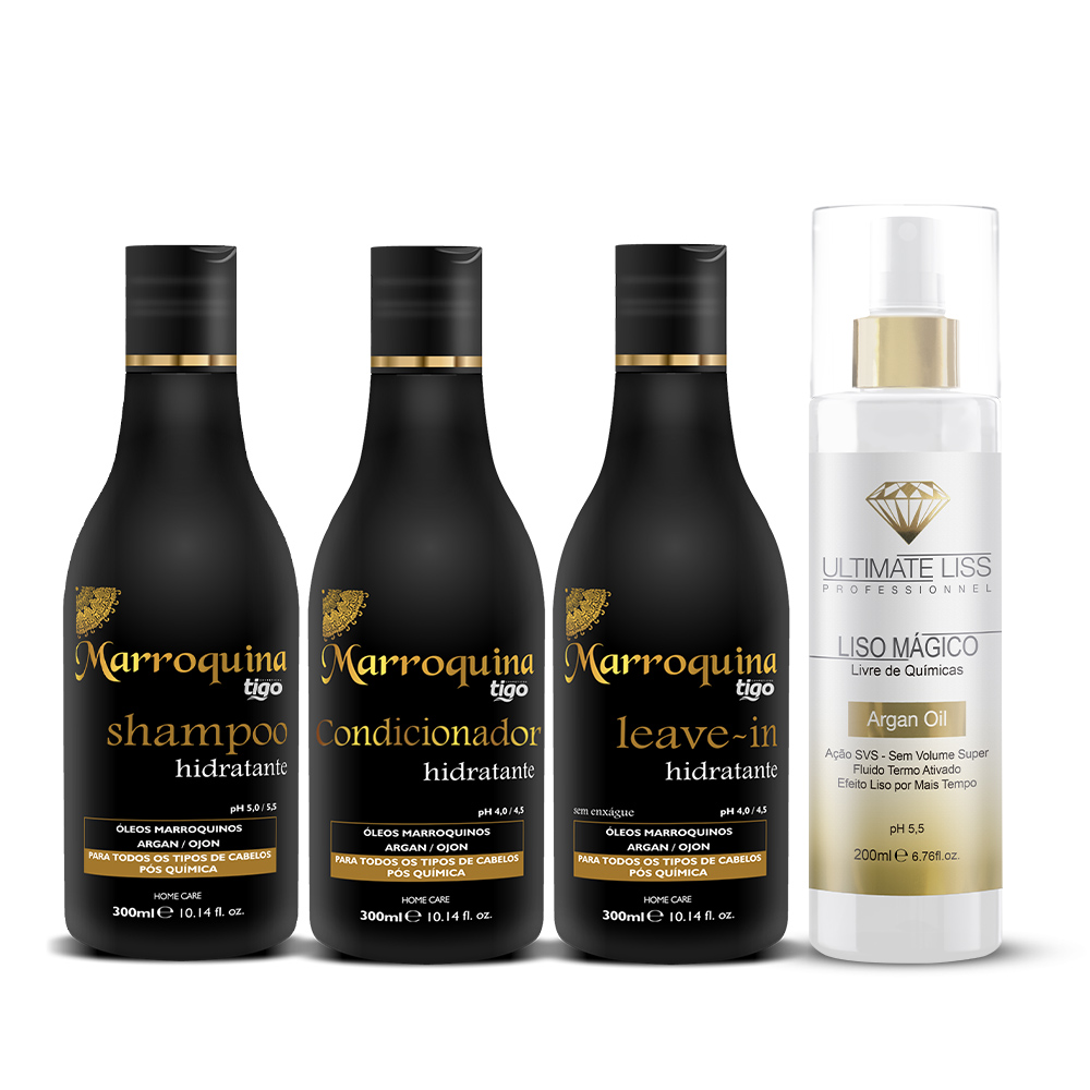 Shampoo + Condicionador + Leave-in Hidratante Marroquina 300ml + Liso Mágico Argan Oil 200ml - Tigo Cosméticos / Ultimate Liss
