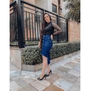 Saia Jeans Sandra - Midi Escura com Botões Frontais