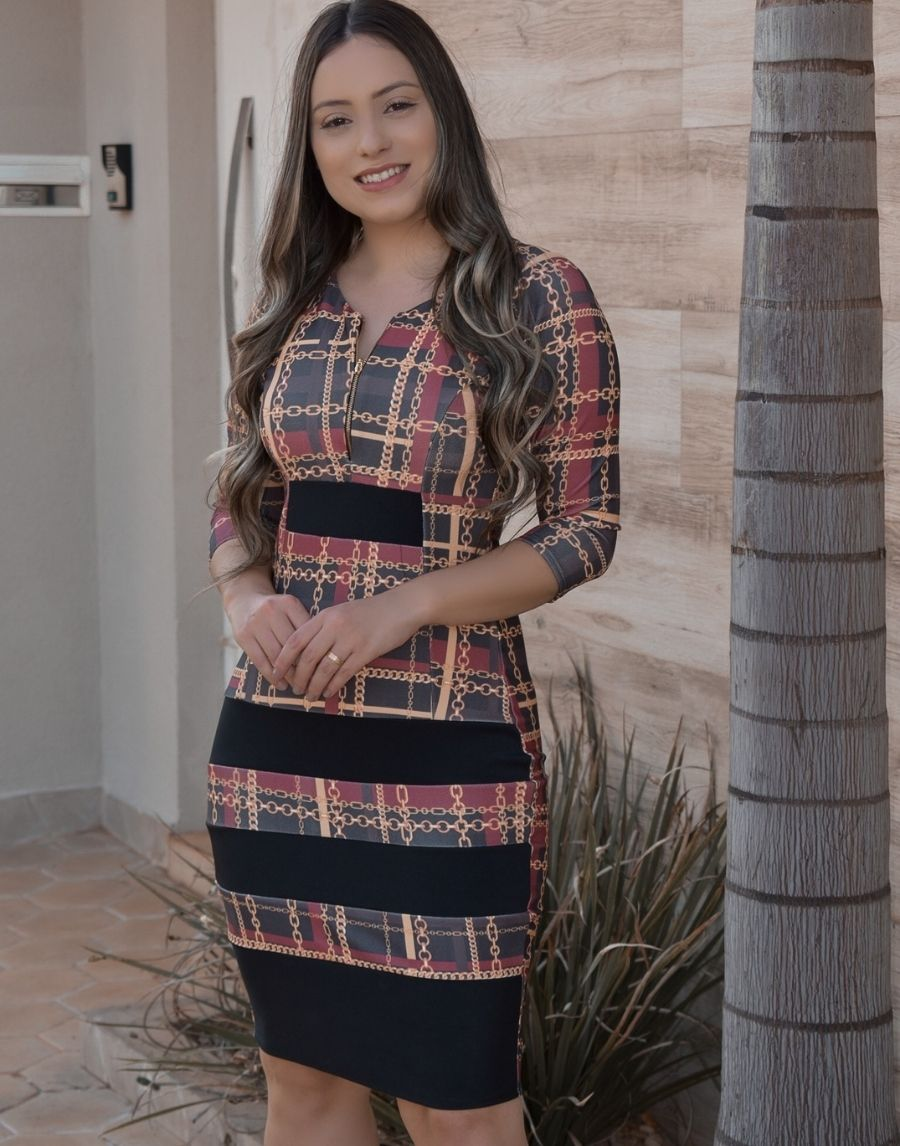 LANÇAMENTO  Vestido Tubinho Xadrez- Joyce - Crepe Malha