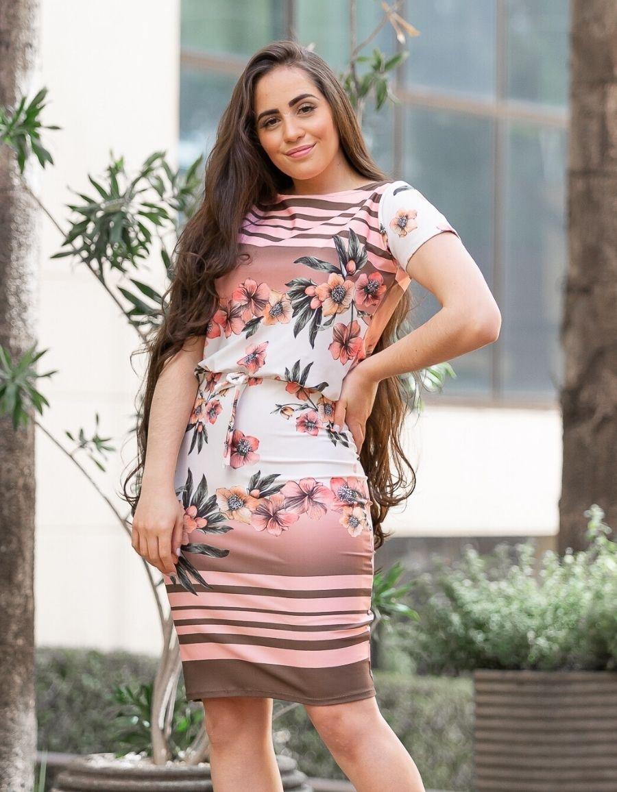 Vestido Amarradinho Suplex Floral - Tamanho único