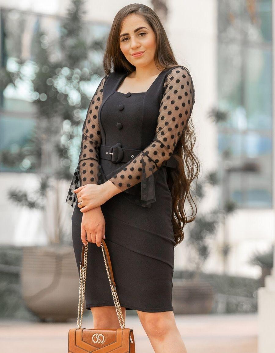 Vestido Crepe Malha Preto - Simone