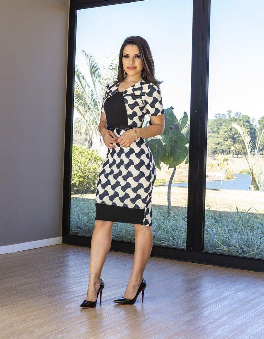 Vestido crepe preto e branco - Amanda