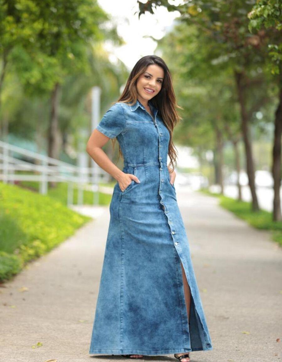 Vestido jeans longo - Maria Eduarda