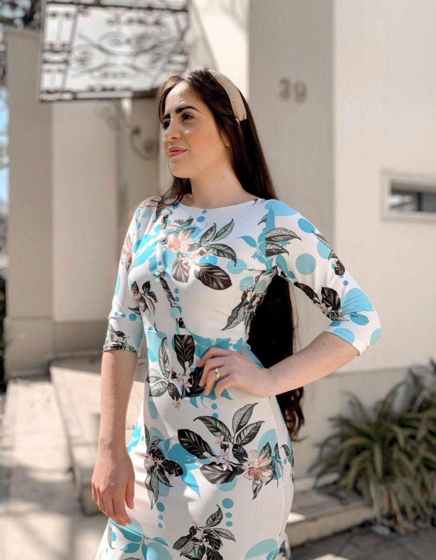 Vestido Neoprene Estampa Floral - Aline