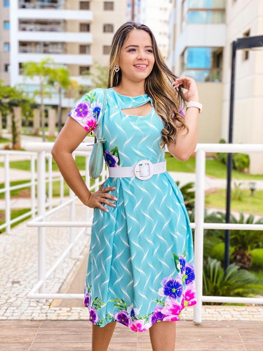 Vestido Rodado Suplex Azul Cristalino - Yanne