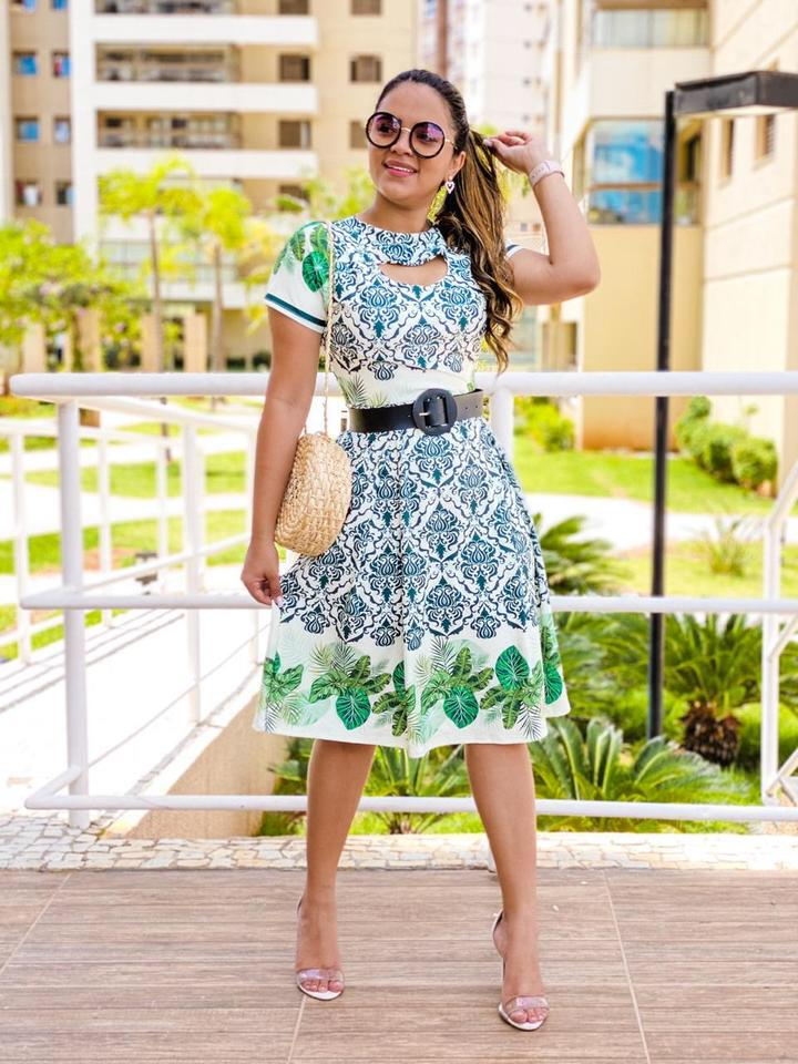 Vestido Rodado Suplex Verde Floral - Bia