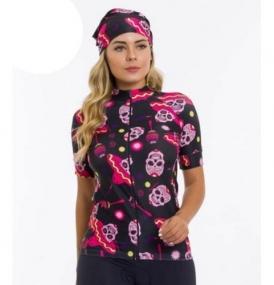 Camisa Ciclismo Feminina M. Curta Lacarrera Caveira Mexicana