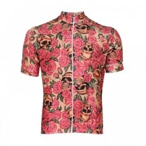 Camisa ciclismo manga curta feminina Lacarrera Caveira Rosas