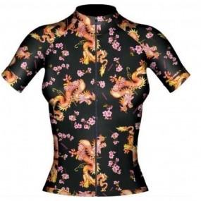 Camisa ciclismo manga curta feminina Lacarrera Dragão Floral