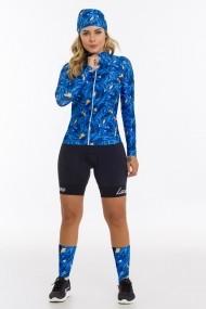 COMBO camisa ciclismo feminina e bandana Lacarrera Pena Azul