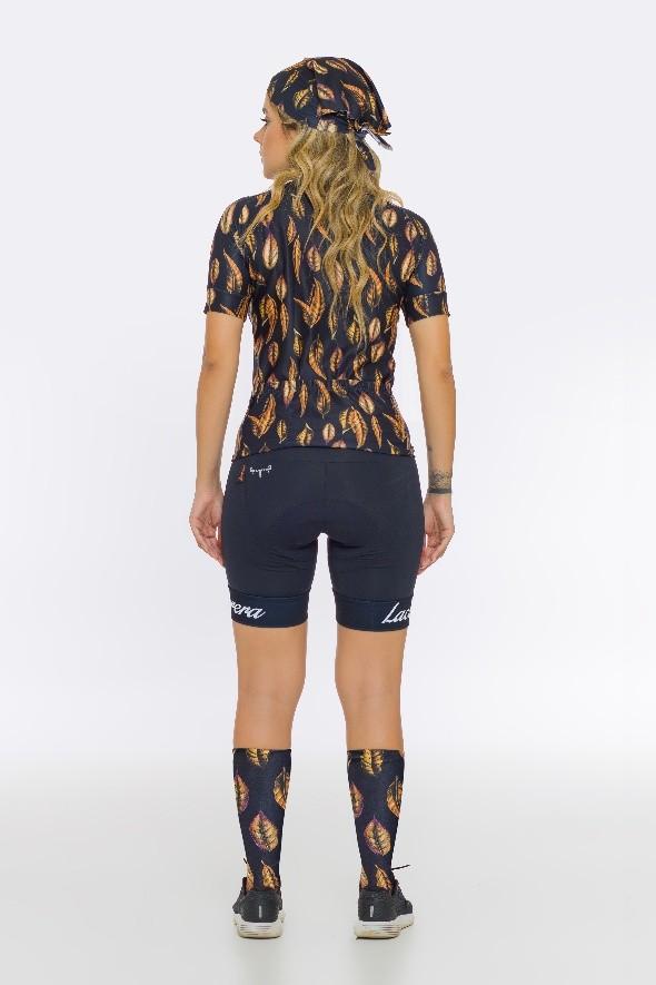 COMBO camisa ciclismo feminina e bandana Lacarrera Folha Dourada