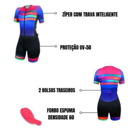 Macaquinho Ciclismo Comfort SportXtreme Rainbow