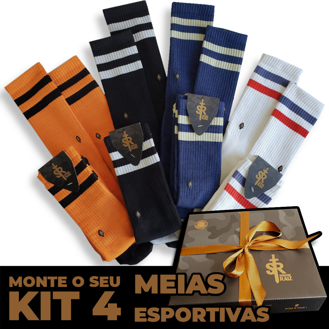 4 Meias Esportivas - Kit LEVE 4, PAGUE 3