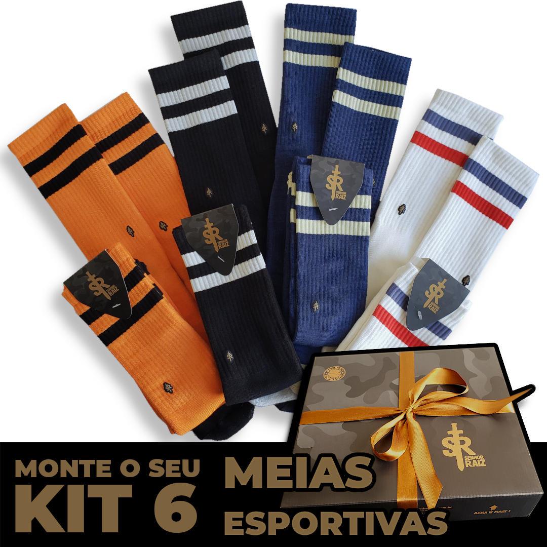 6 Meias Esportivas - Kit Leve 6, Pague 5